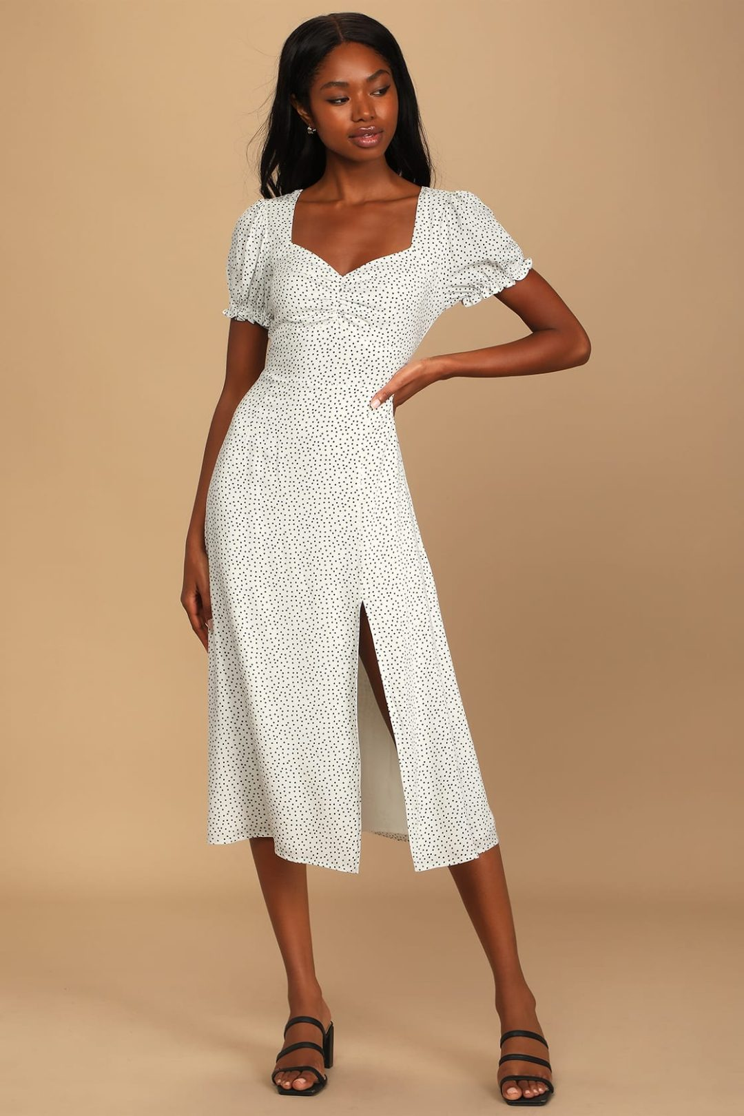 What To Wear To A Celebration Of Life: Puff sleeve midi dress
