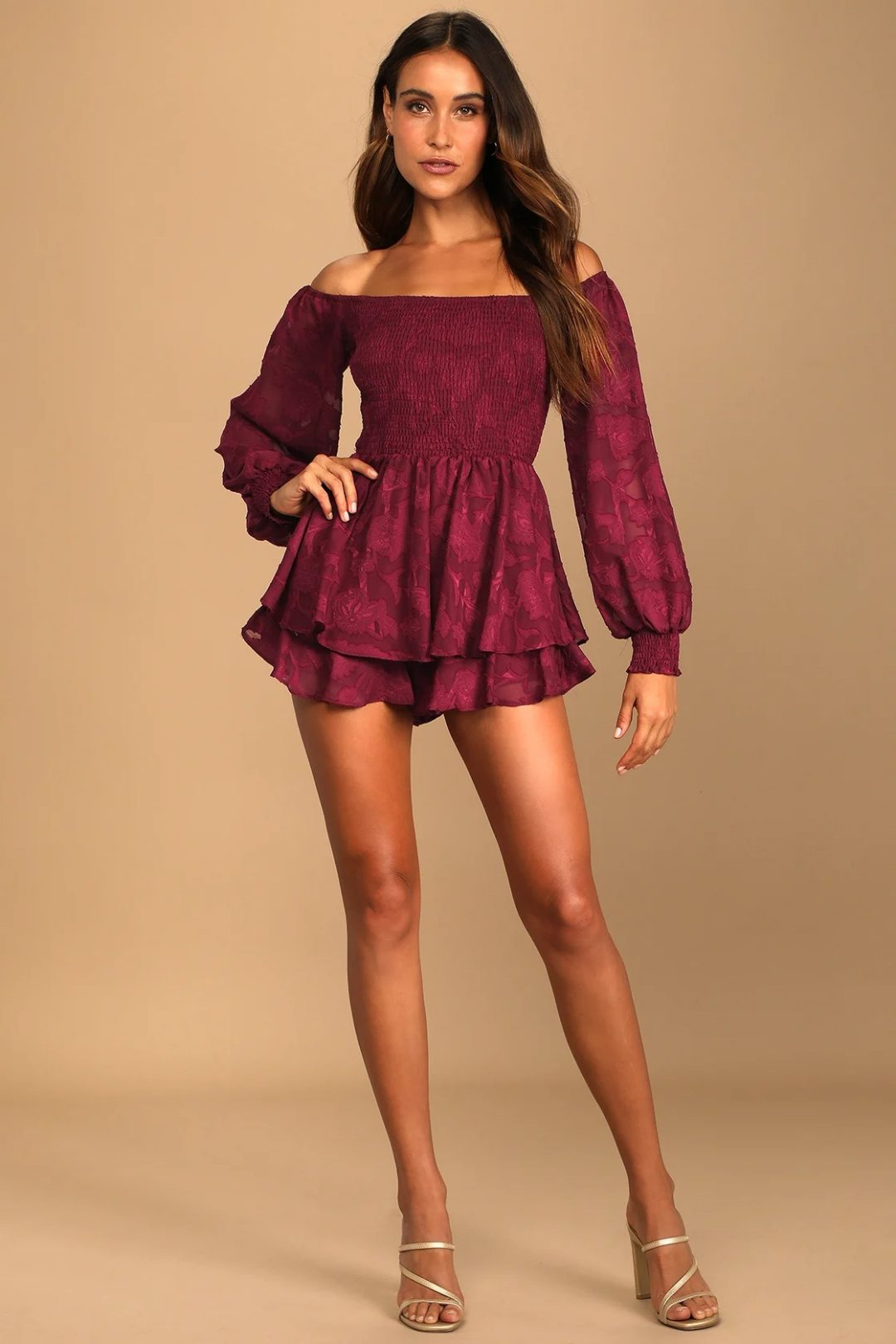 Off shoulder burgundy mini dress