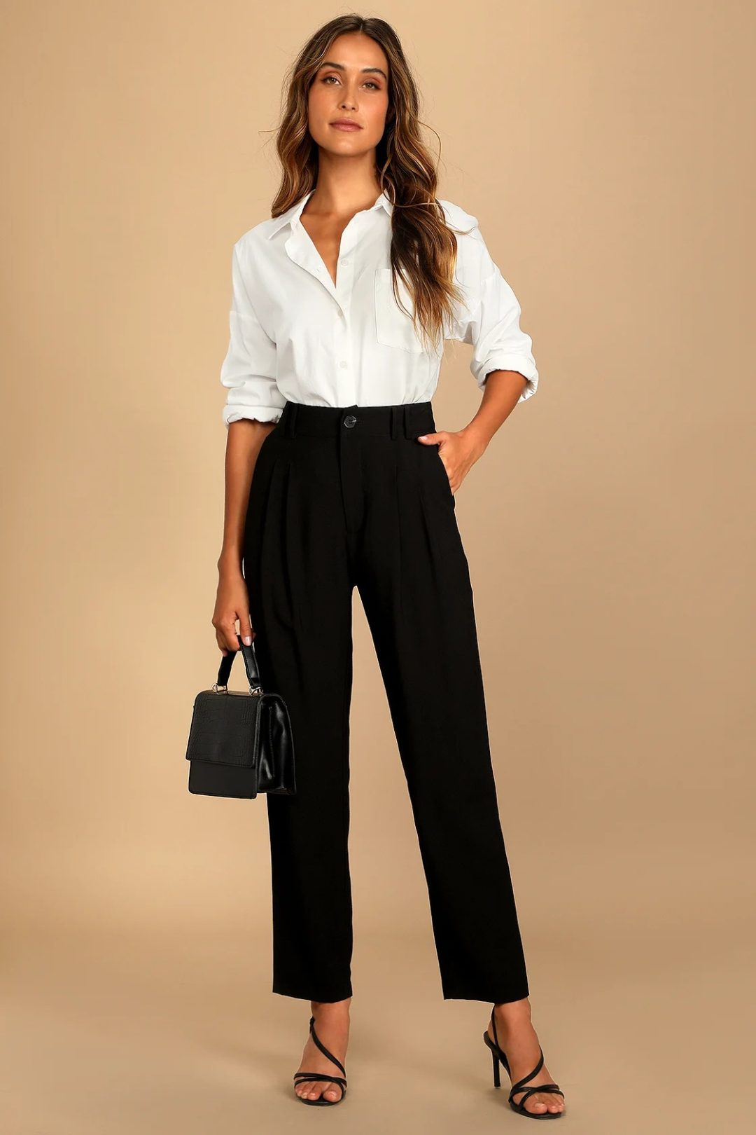 White button up blouse and black straight leg pants for court