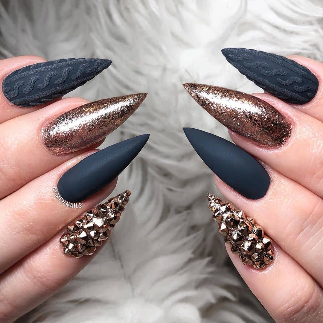 Black matte and champagne sweater nails