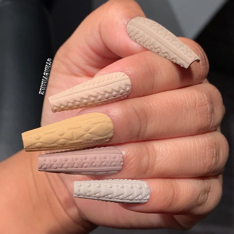 Nude color sweater nails