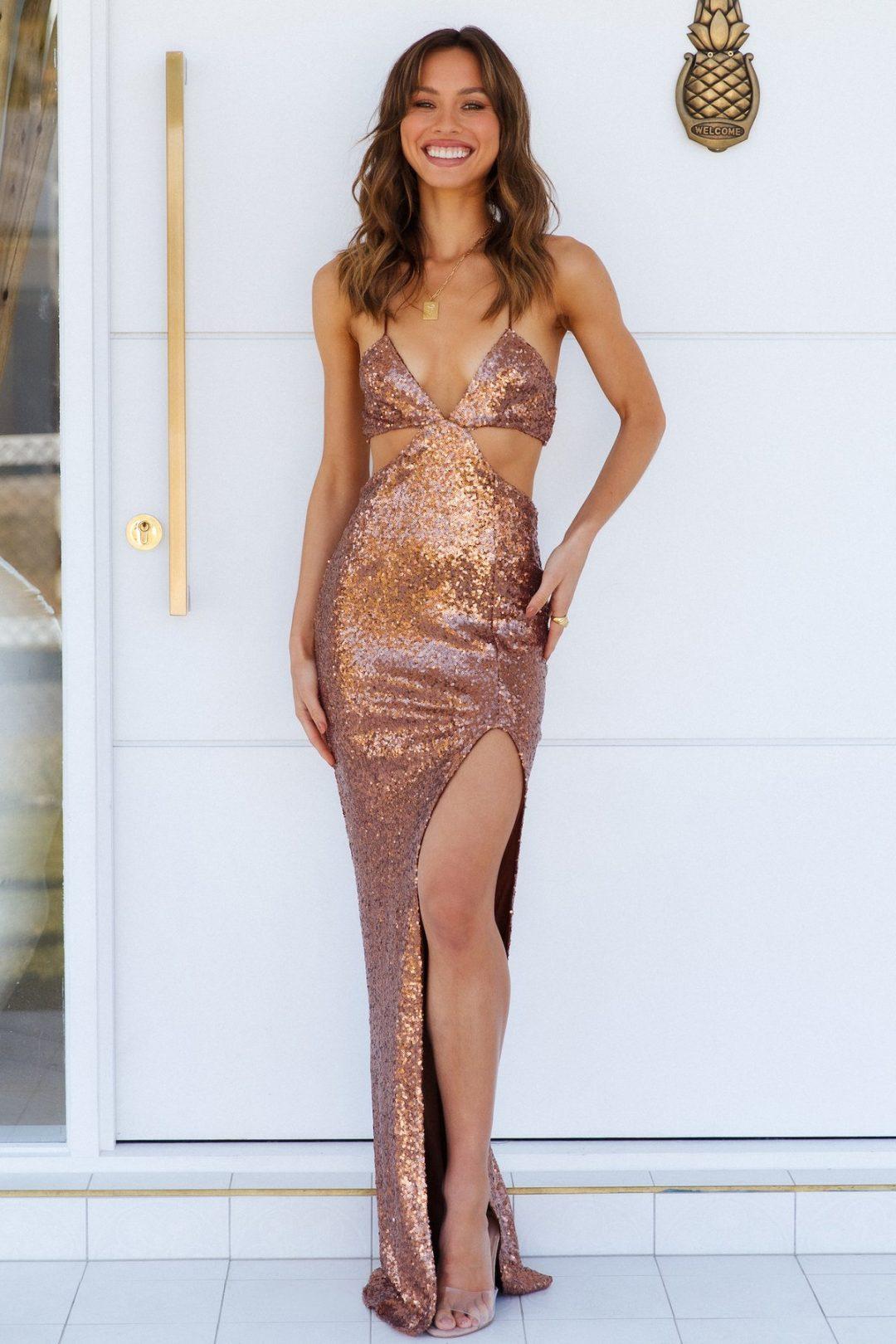 Champagne cutout maxi dress