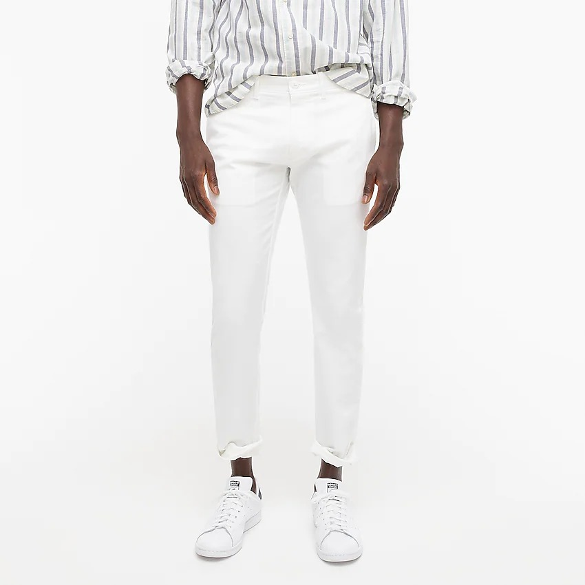 White chinos with striped polo shirt