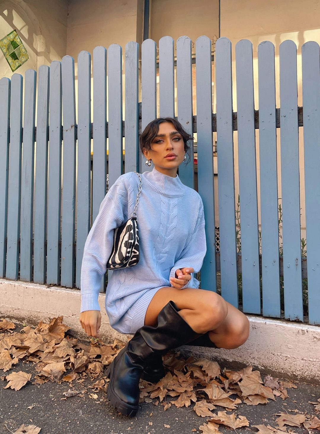 What to wear with thigh high boots: Baby blue sweater dresses