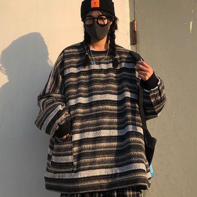 Dark striped oversized sweater