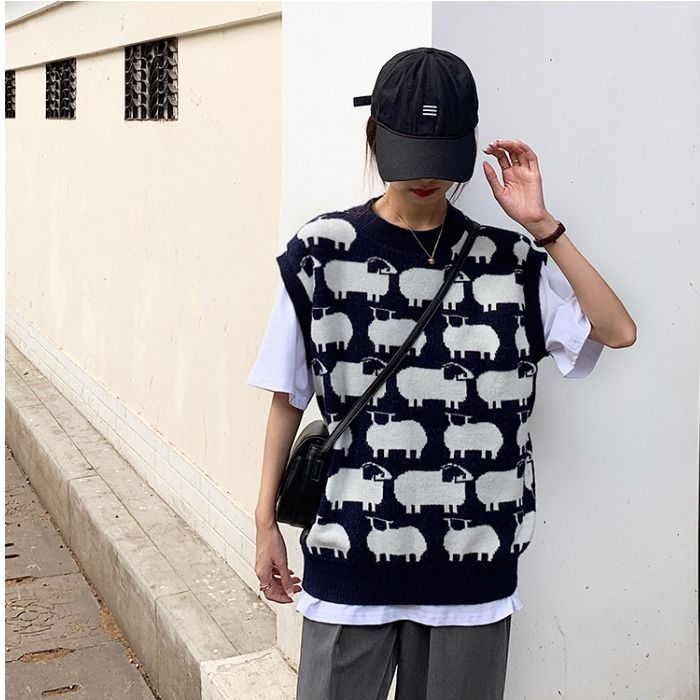 Sheep patterned sweater vest