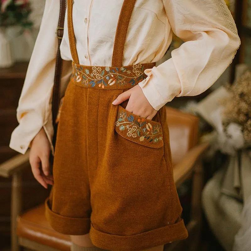 Brown corduroy goblincore suspender shorts