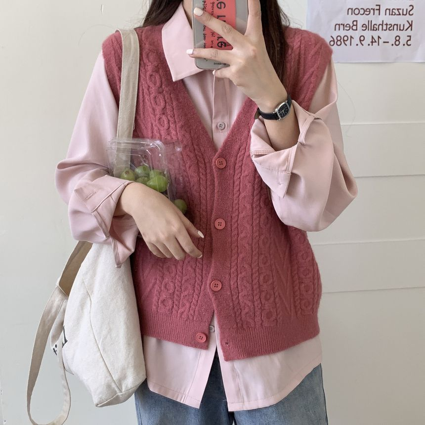 Pink sweater vest with pink button up shirt