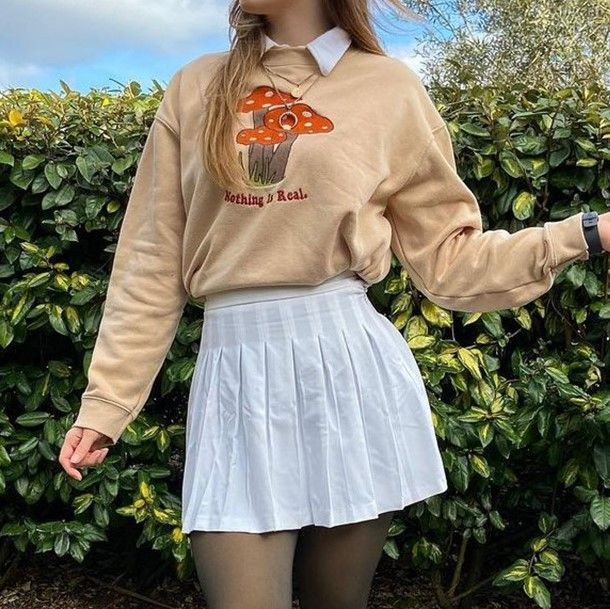 Goblincore Outfits: Beige mushroom sweater