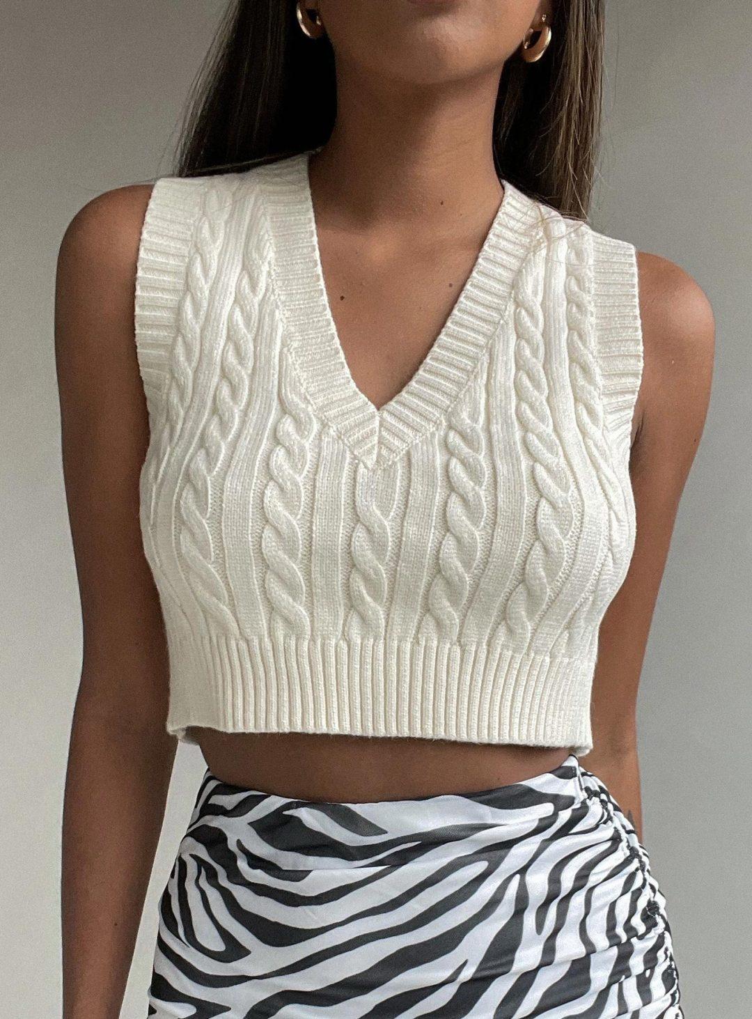 Cream cropped knit vest