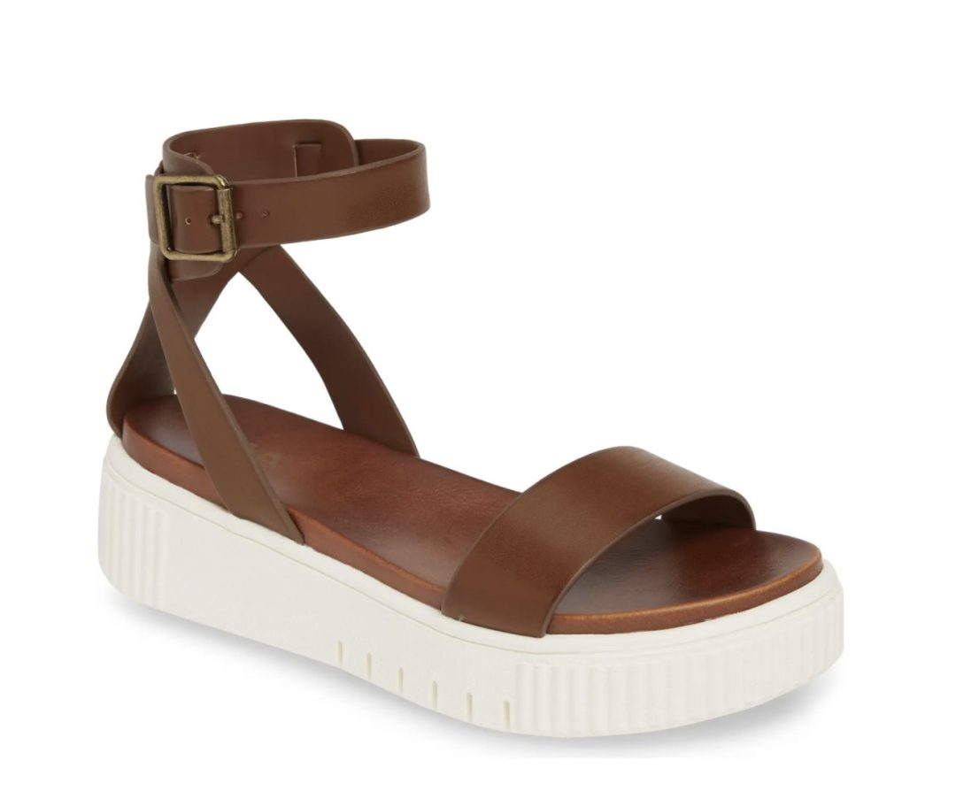 What Color Shoes To Wear With A Yellow Dress: Brown platform sandals