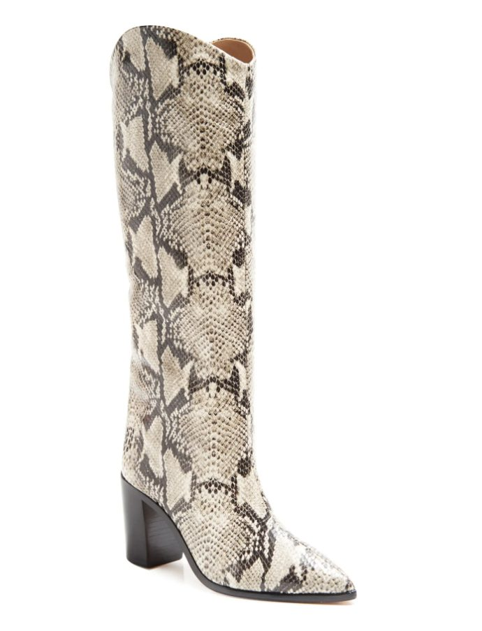 Snake print knee high boots