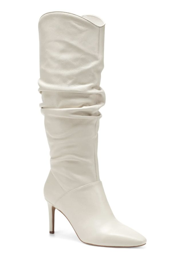 Runched white knee high boots