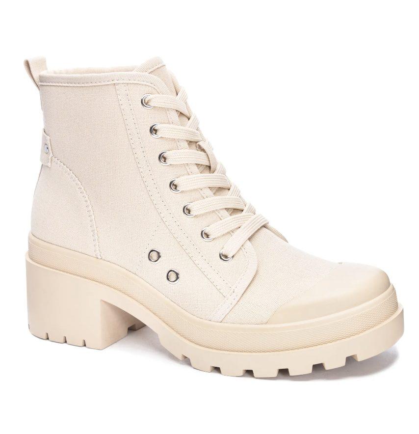 Cream combat boots