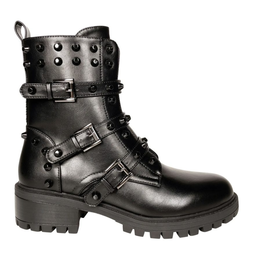 Badass black combat boots with strap details