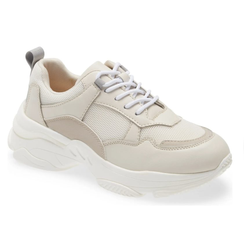 Beige and cream leather chunky sneakers