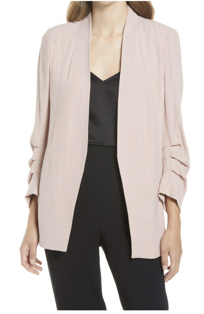 Blush pink blazer for court