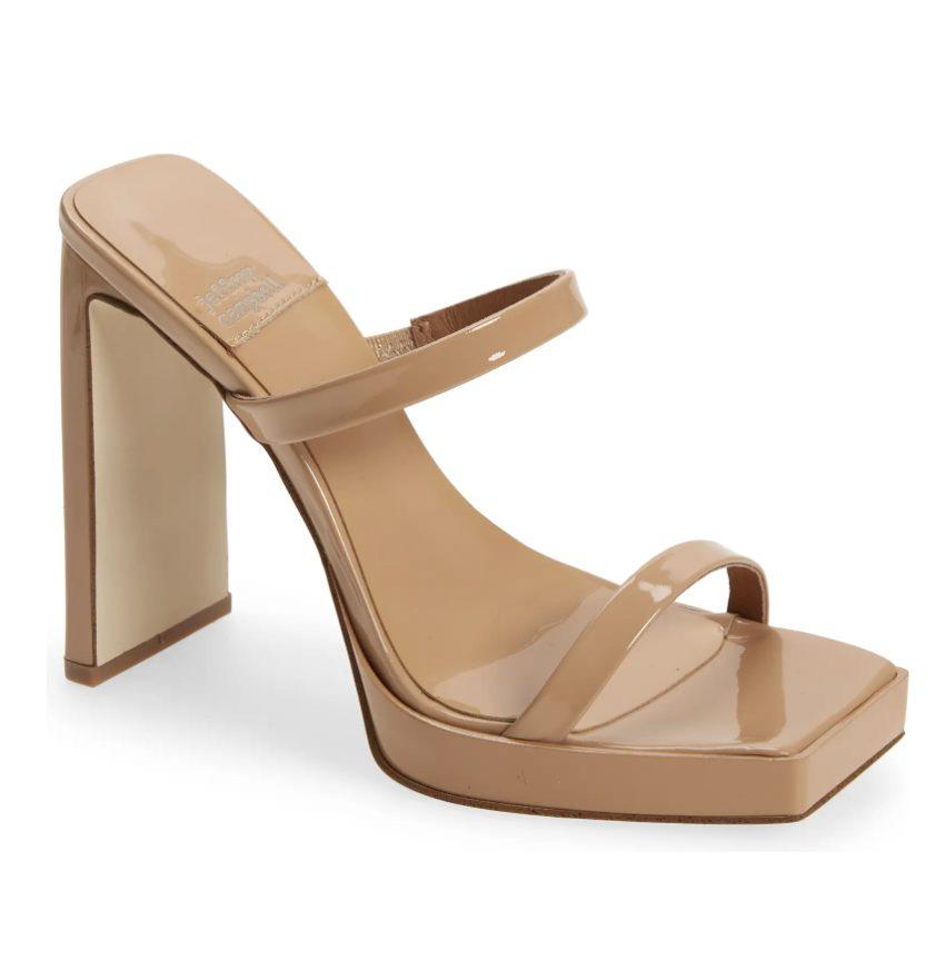 What Color Shoes To Wear With A Navy Dress: Nude platform sandals