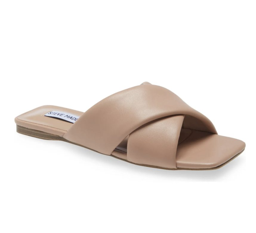 What Color Shoes To Wear With A Navy Dress: Nude slide sandals