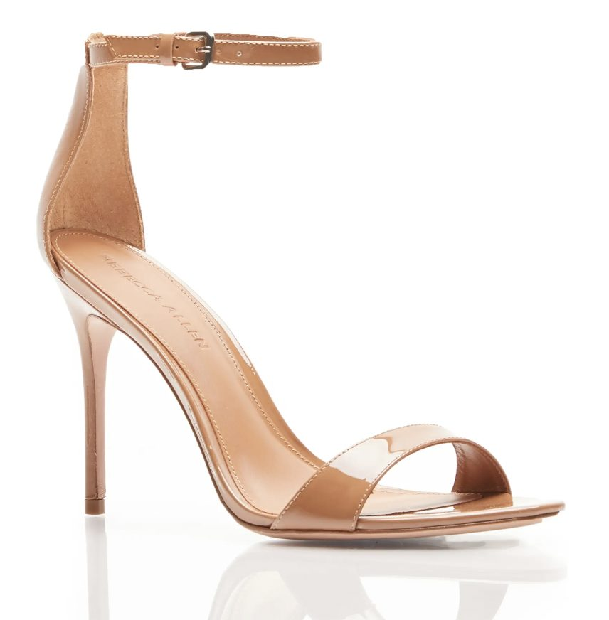 What Color Shoes To Wear With A Navy Dress: Nude strappy heels