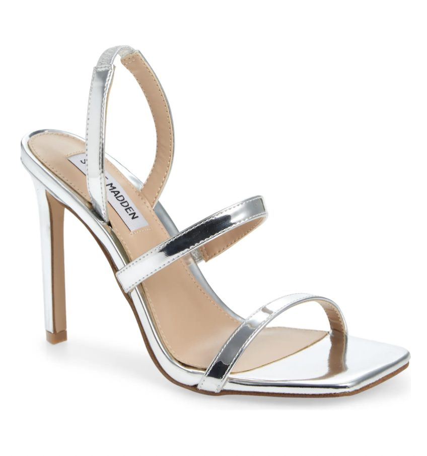 What Color Shoes To Wear With A Navy Dress: Silver strappy heels