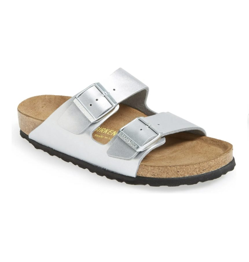 What Color Shoes To Wear With A Navy Dress: Silver birkenstock sandals