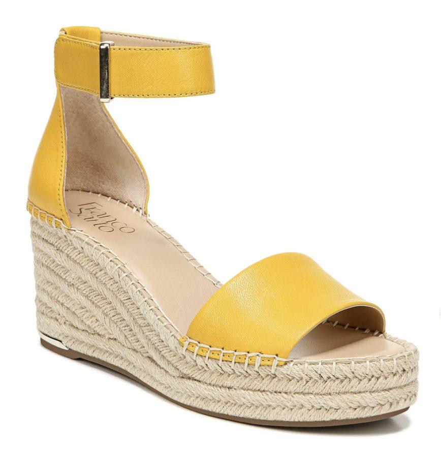 Yellow espadrille wedges