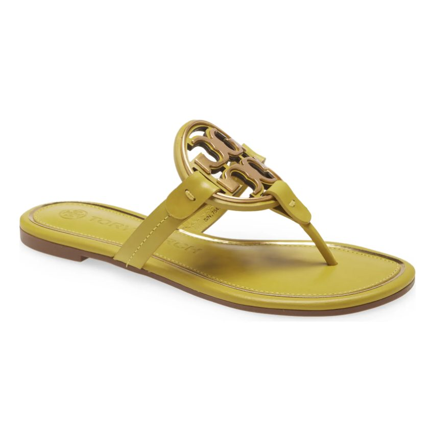 Lemon lime Tory Burch sandals