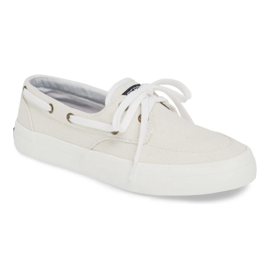 White Sperry boat shoes