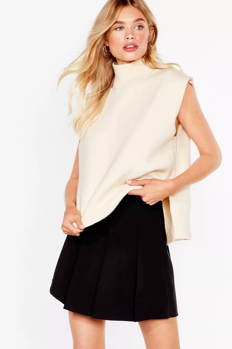 Cream halter knit vest