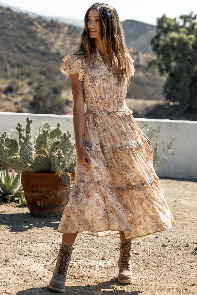 Cute boho midi dress with ruffles