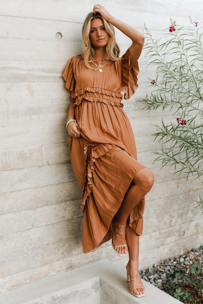 Cute tan tiered dress in bohemian style