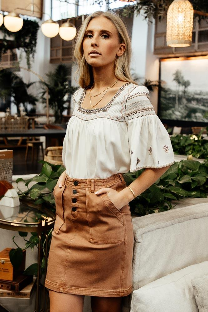 Bohemian look with brown skirt and embroidered blouse