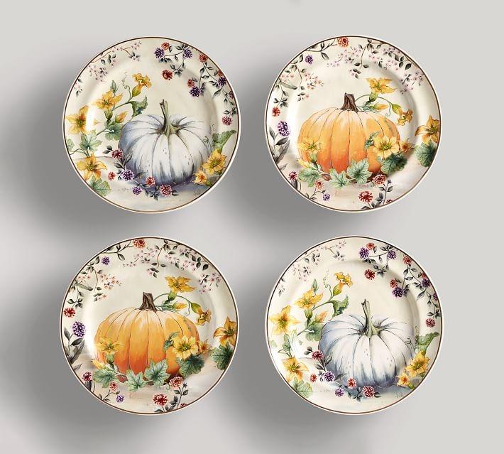 Pumpkin Stoneware Salad Plates