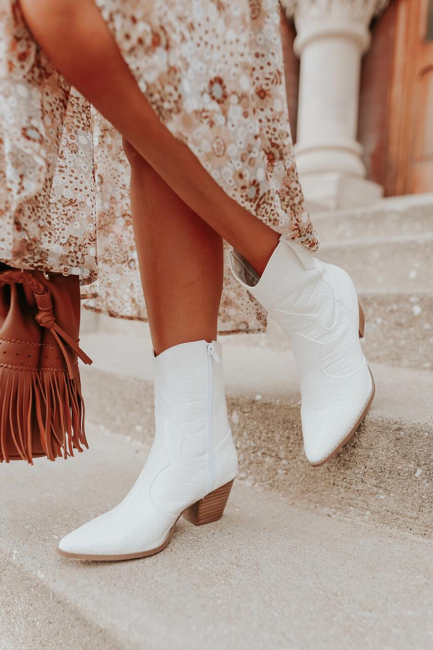 White short cowboy boots