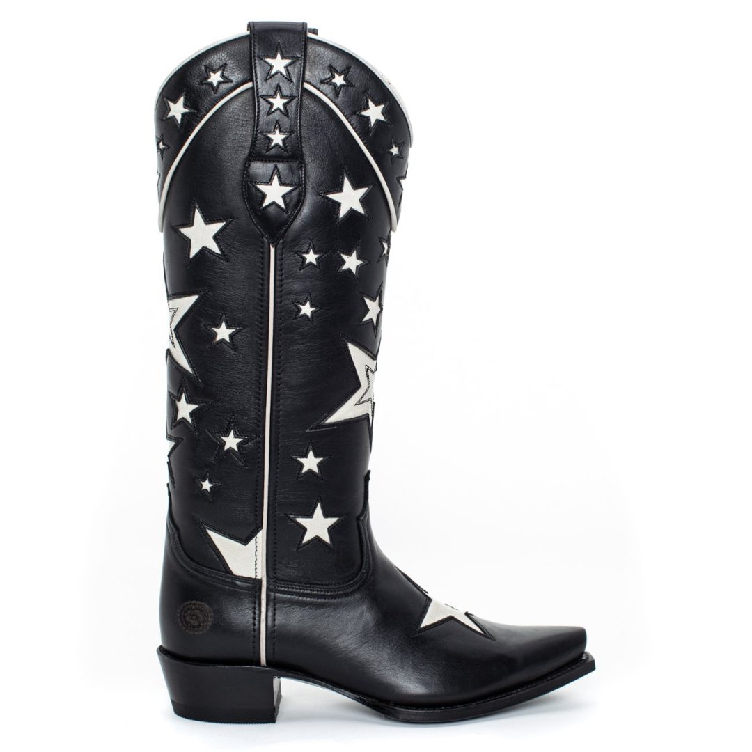 Black Western cowboy boots with stars