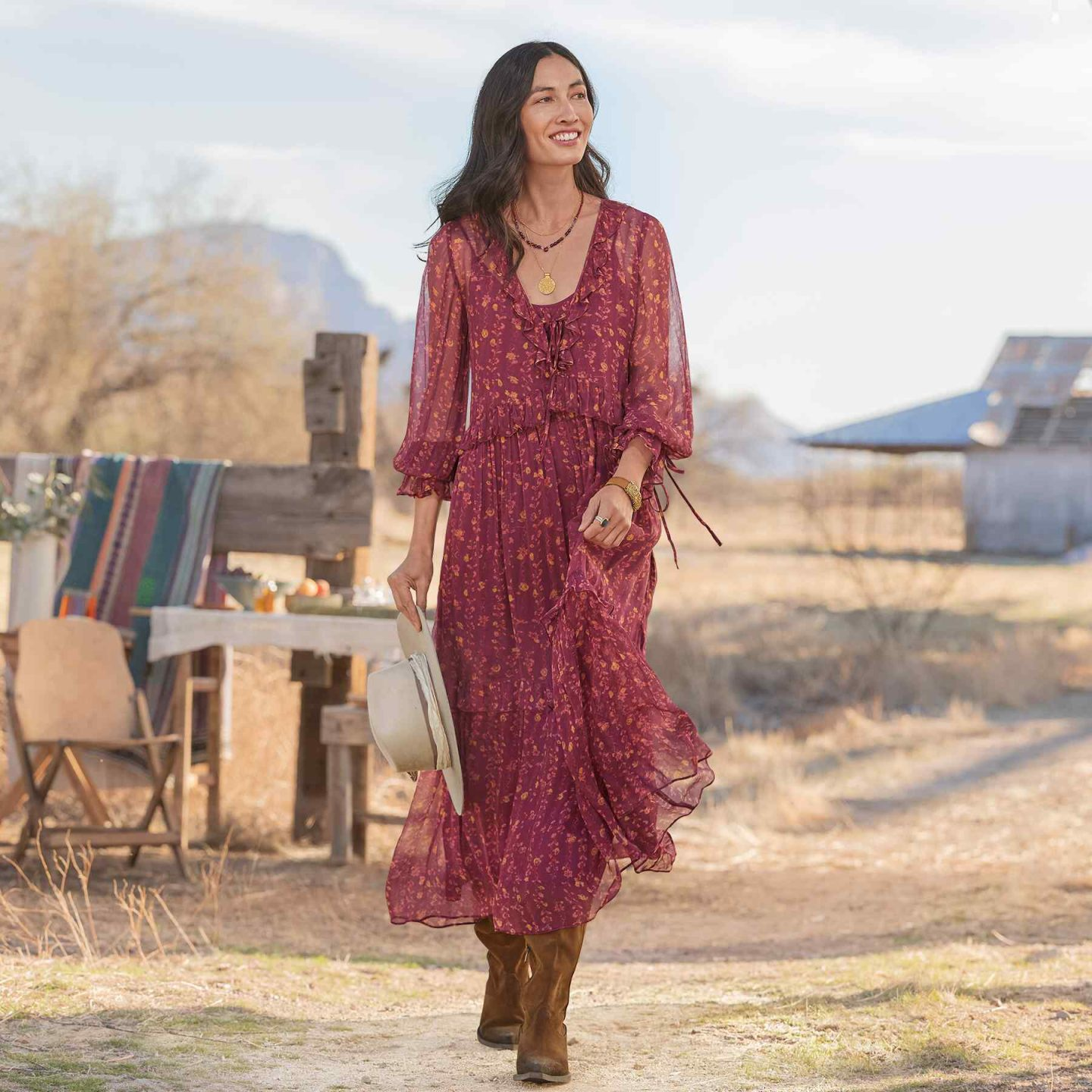 Long flowy country dress to wear with cowboy boots