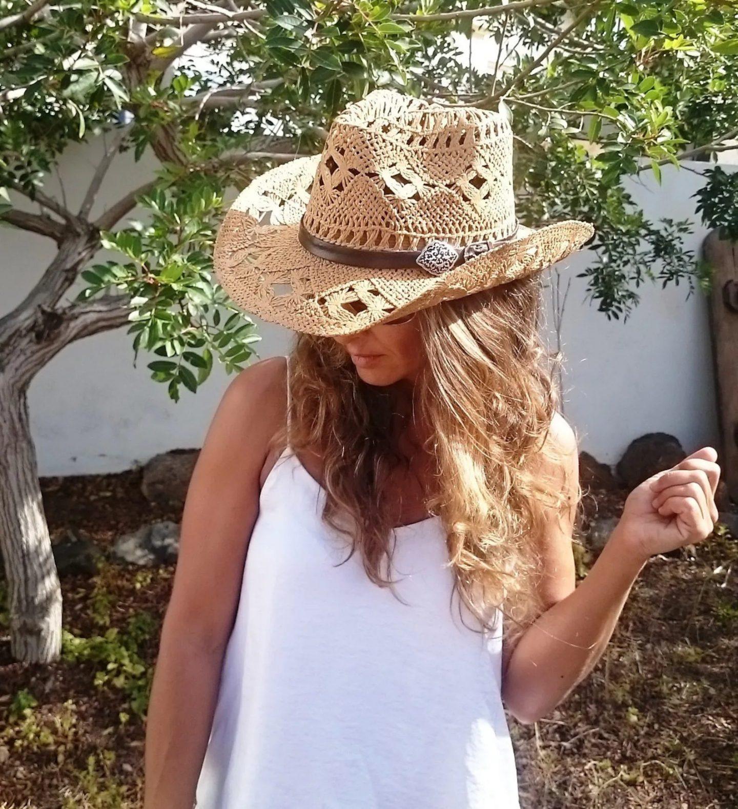 Bohemian straw cowboy hat