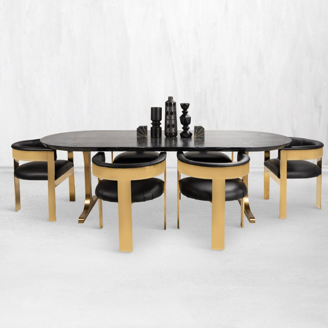 Modern black and gold dining table from ModShop
