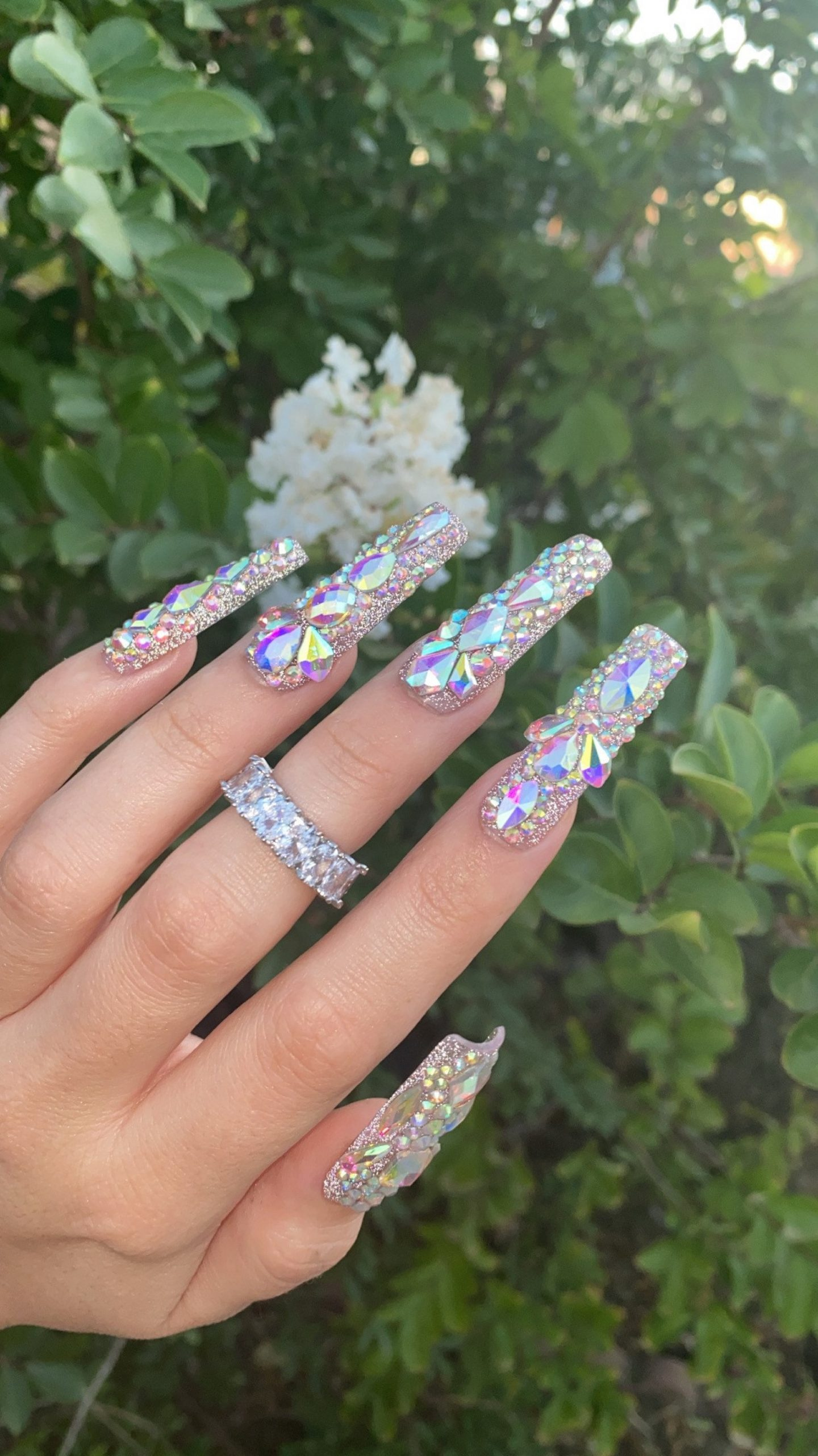 Long bling nails with crystals