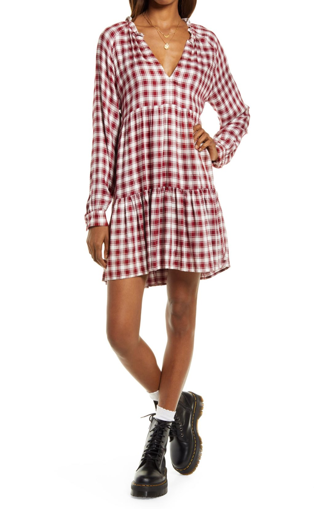 Red gingham dress for cowboy boots