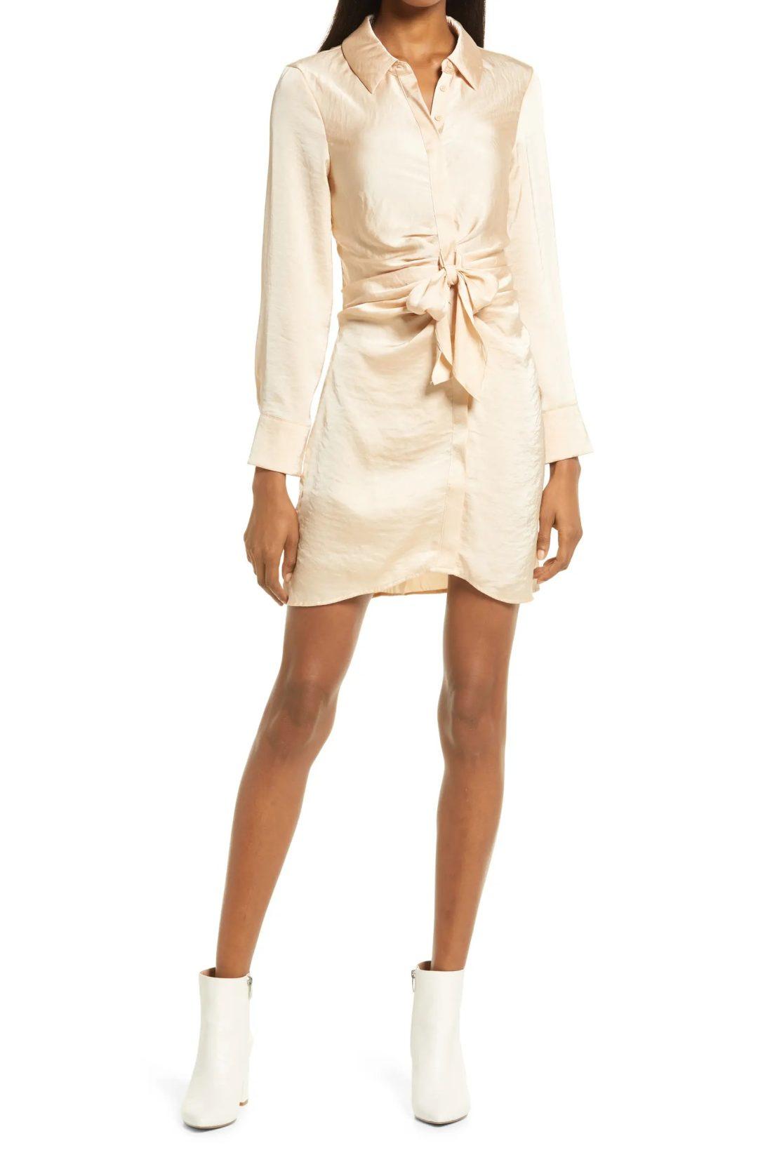 Cream satin wrap dress