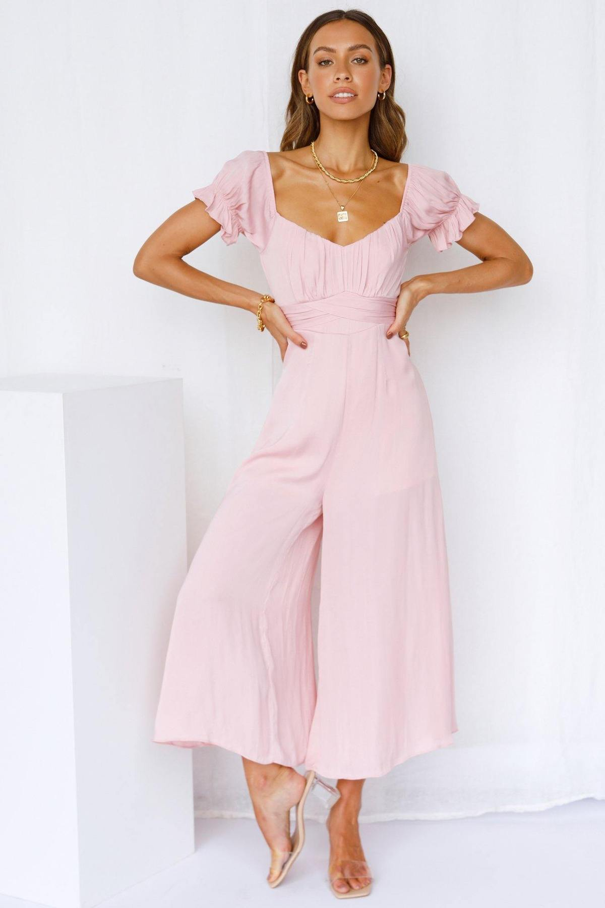 What To Wear To A Celebration Of Life: Blush jumpsuit