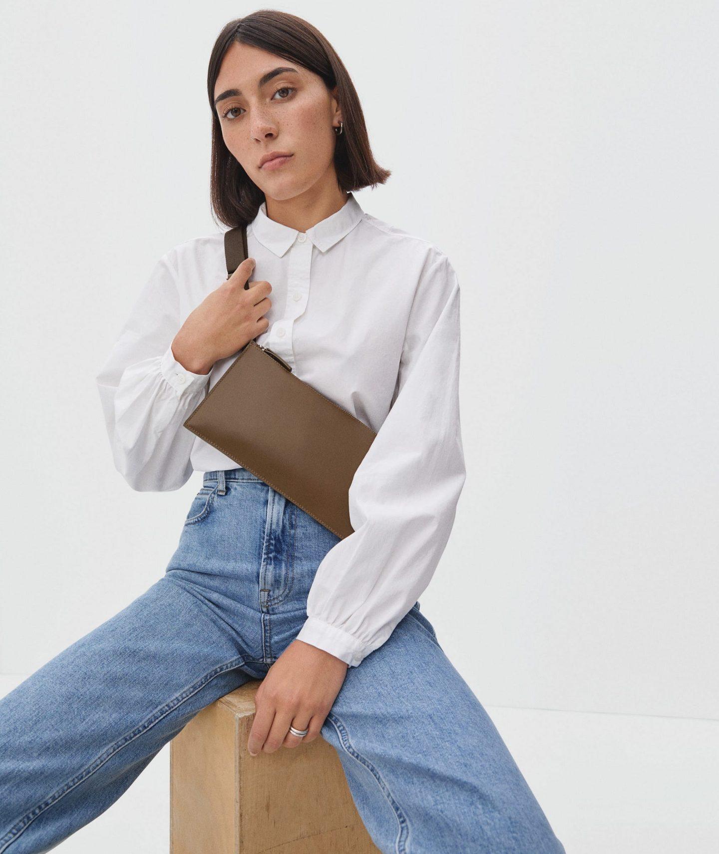 Brown minimalist sling bag from Everlane