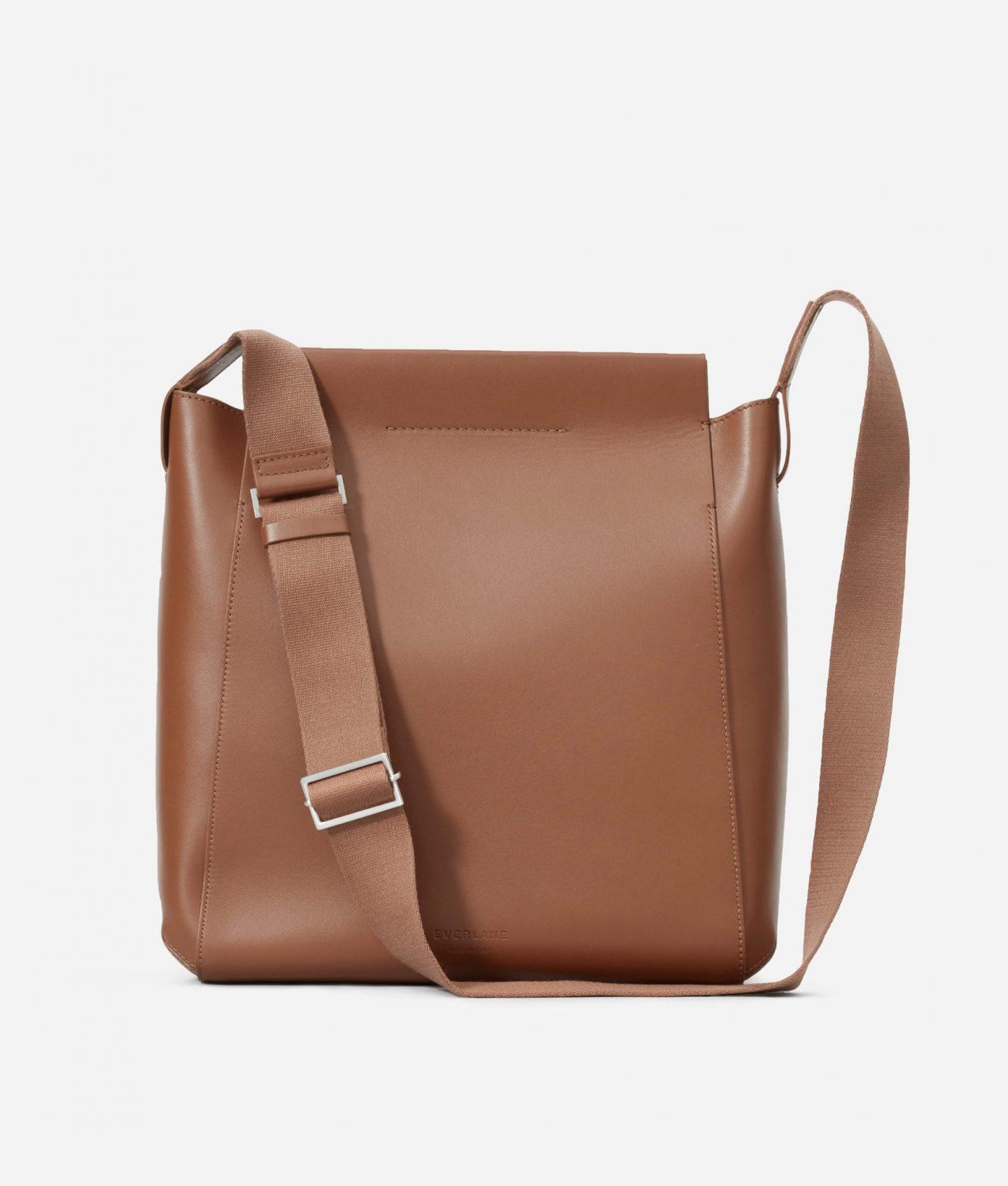 Camel colored minimalist crossbody bag from Everlane
