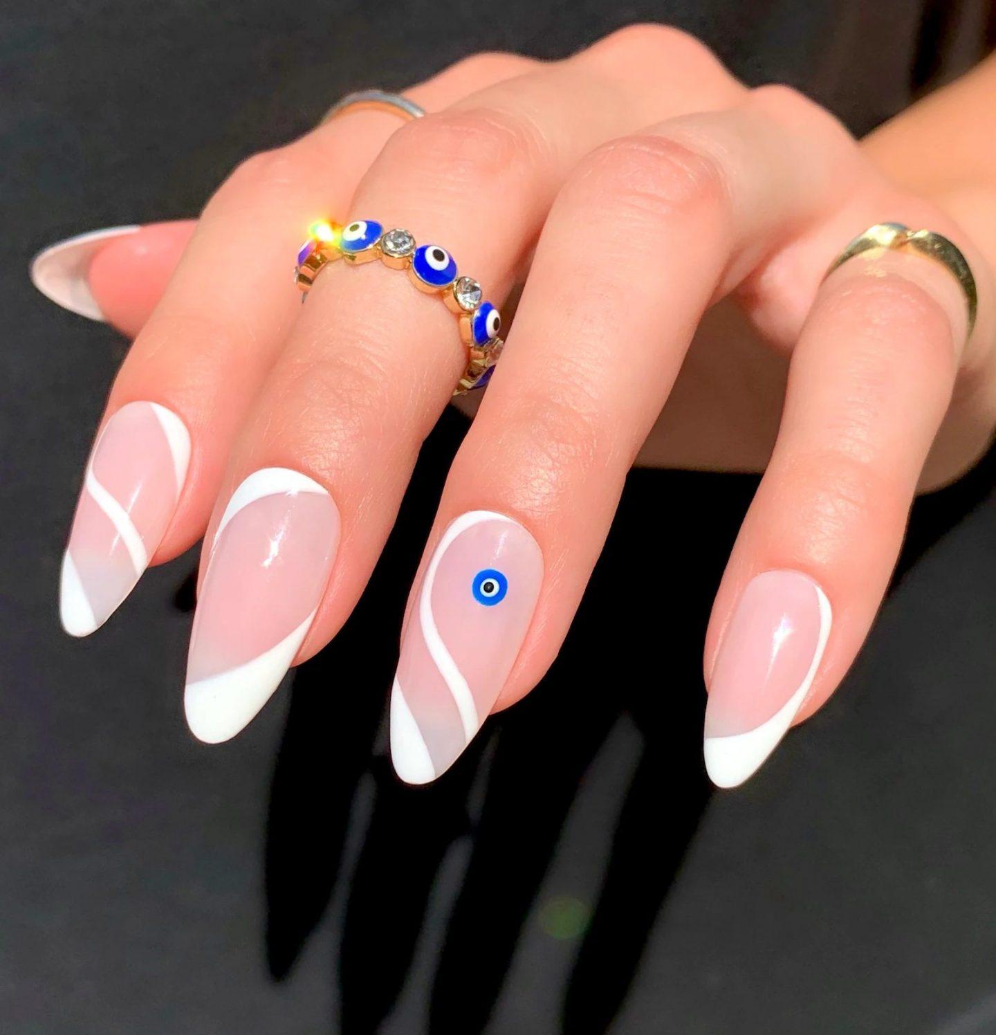White swirl nails