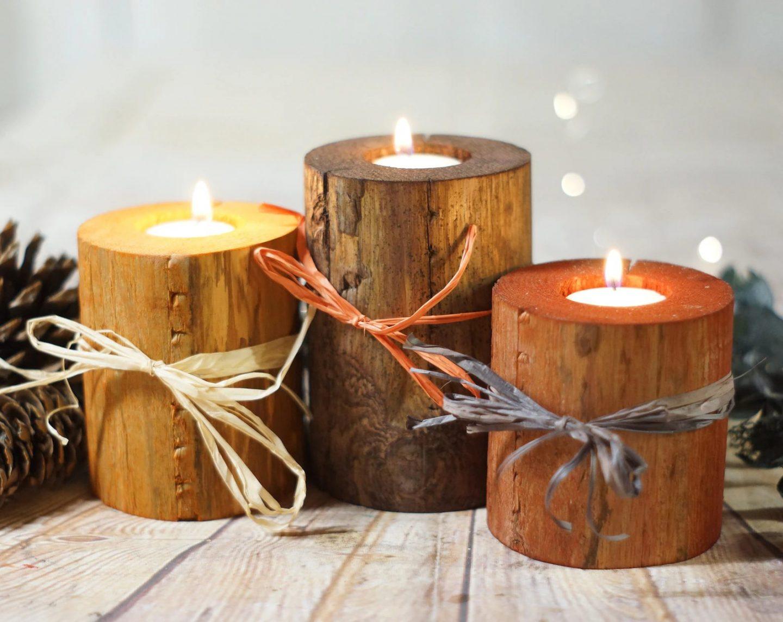 Fall log candles