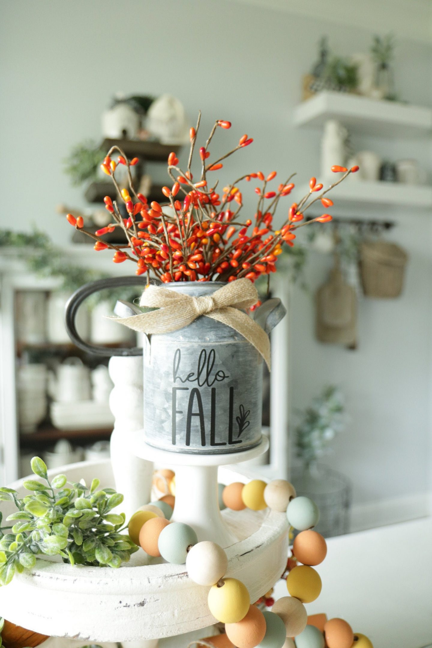 Galvanized Fall Floral Arrangement