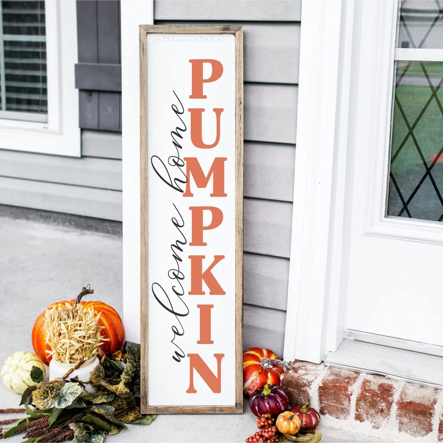 Welcome home pumpkin fall sign for porch decor