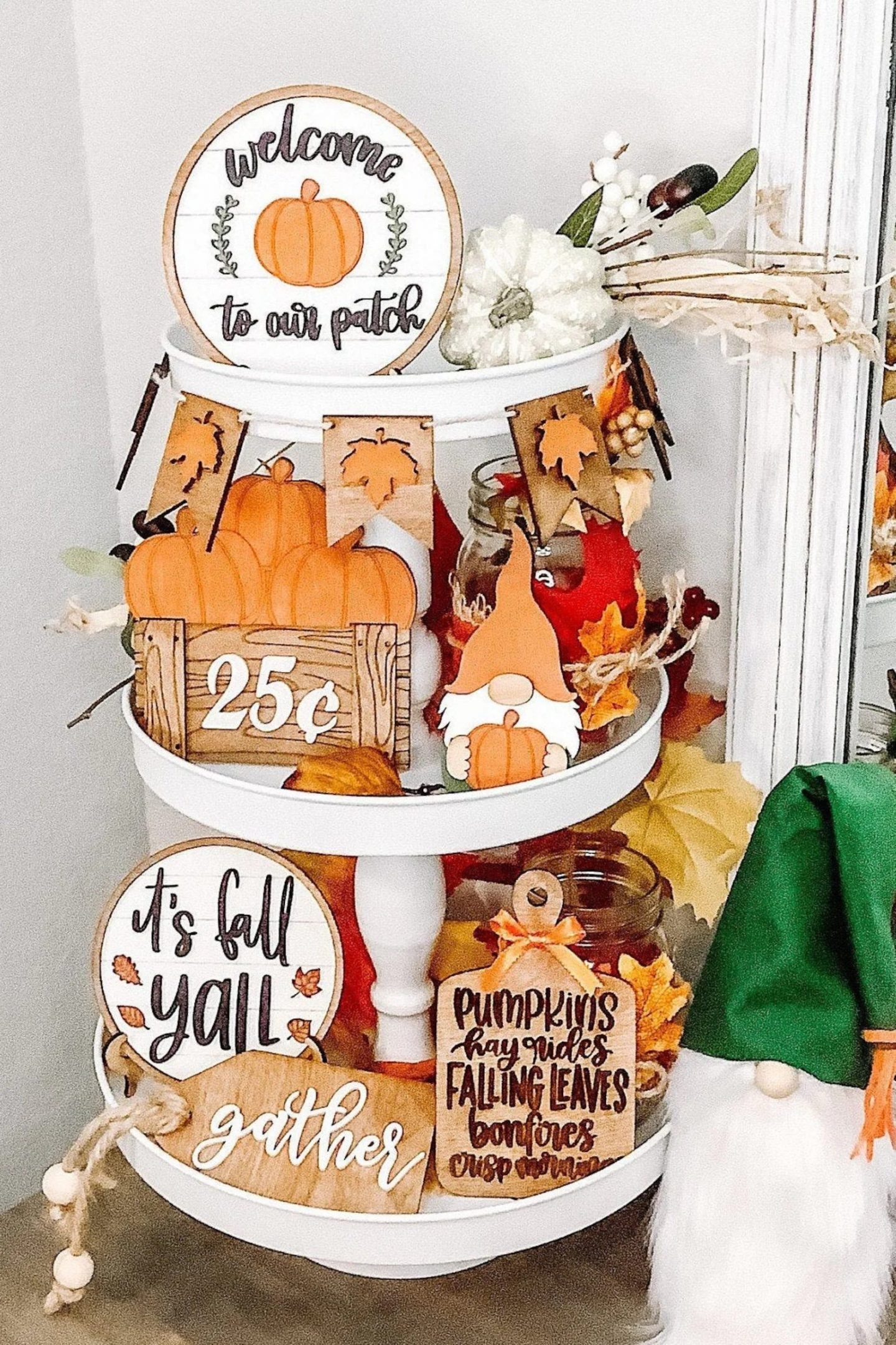 Tiered Tray Harvest Decor with pumpkins and gnomes